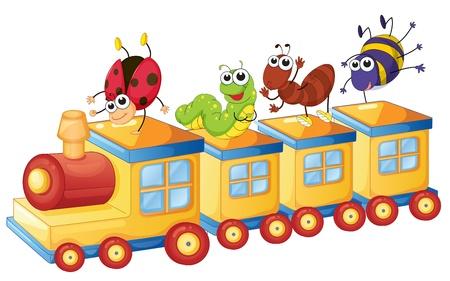 Ilustración de varios insectos en un tren de juguete