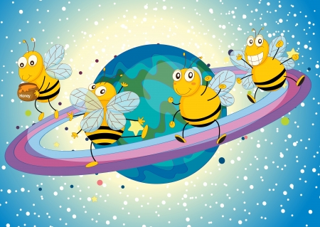 childrens: illustration of a honey bees on saturn rings