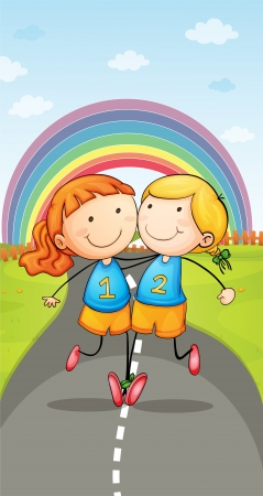 illustration of a girls running on road and rainbow Vector