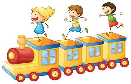 zug cartoon: Illustration eines Kinder spielen auf einer Spielzeugeisenbahn Illustration