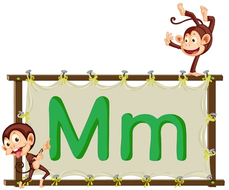 Alphabet letter illustration on a brown canvas Vector