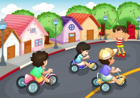 driewieler: illustratie van een kinderen spelen op de weg