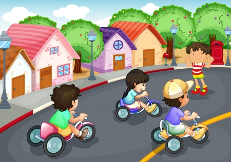 illustration of a kids playing on the road Vector