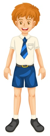juniors: illustration of a boy in school dress on a white background