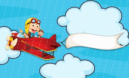 illustration of a monkey in aeroplane in rain Vector