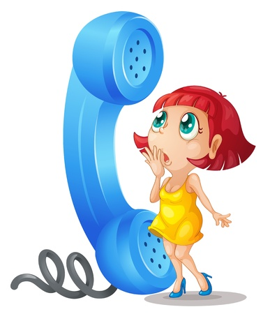 illustration of a girl and phone receiver on a white background Vector