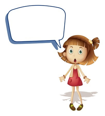children talking: illustration of a girl and call out on a white background