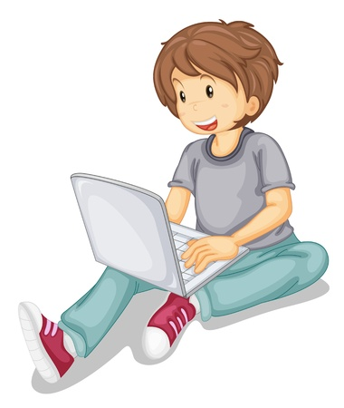 illustration of a laptop and boy on a white background Stock Vector - 14922396