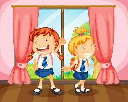 golden hair: illustration of a girls in room near window Illustration
