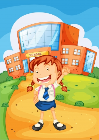 illustration of a girl in front of school Vector