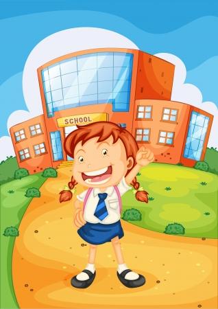 cartoon school girl: Ilustraci�n de una ni�a en frente de la escuela Vectores