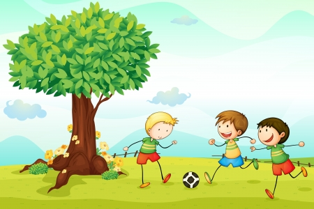 ilustración de niños jugando fútbol en una naturaleza Ilustración de vector