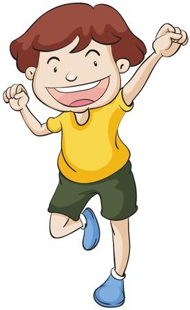 ilustración de chico bailando sobre un fondo blanco Ilustración de vector