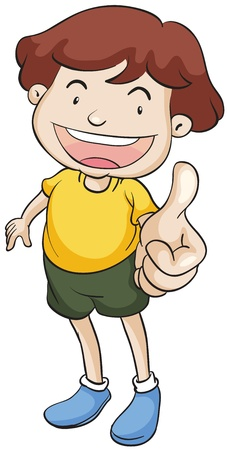 well done: illustration of a boy with thumbs up on a white background