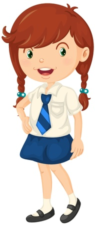 illustration of a girl in school dress on a white background