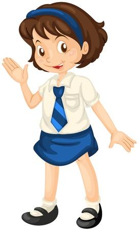 Ilustración de una niña en traje de escuela sobre un fondo blanco. Ilustración de vector