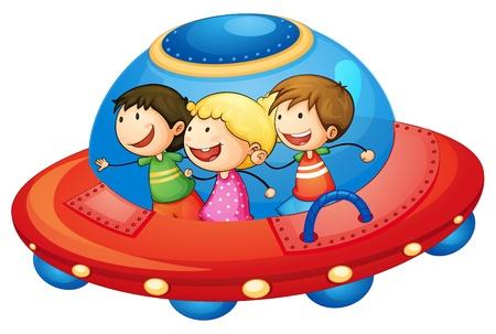 raumschiff: Illustration eines Kinder im Raumschiff auf weißem Hintergrund