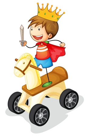 illustration of a boy on toy horse on white background Vector