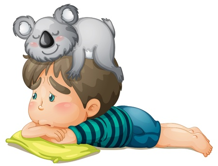illustration of a boy and bear on white background Vector