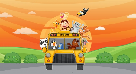 illustration of a animals and zoo bus on road Stock Vector - 14922716