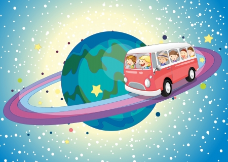 illustration of a bus on saturn planet in the universe Vector