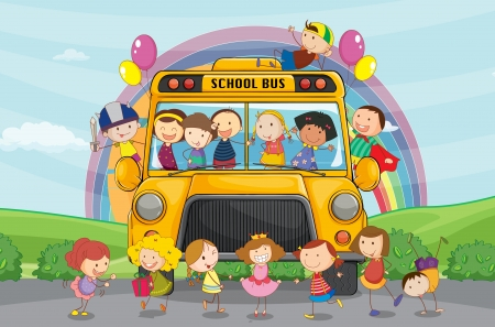 small sword: illustration of kids and school bus in nature
