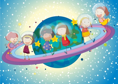 pals: illustration of a kids on saturn planet in the universe Illustration