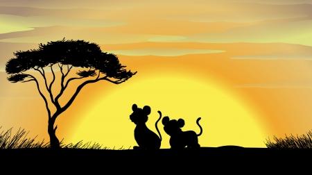 silueta tigre: ilustración de tigre y su cachorro en una hermosa naturaleza
