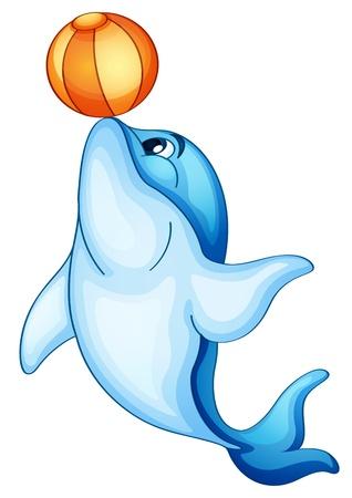 peces caricatura: Ilustraci�n de un delf�n aislado