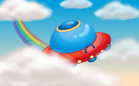 illustration of a spaceship and rainbow in sky Vector