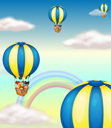 illustration of kids in a hot air balloon Stock Vector - 14923217