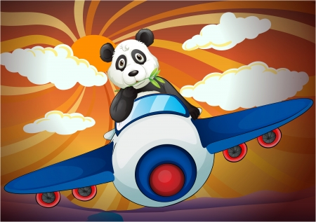 illustration of a panda flying in air plane Vector
