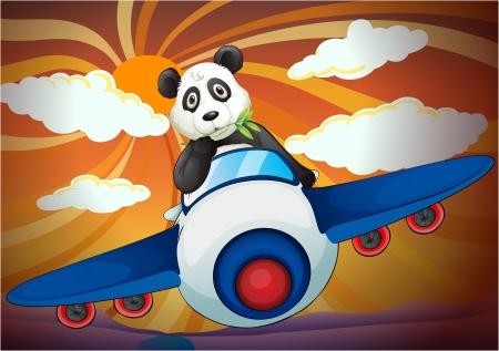 oso panda: ilustración de un panda volando en avión de aire