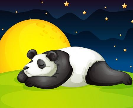one panda: illustration of a panda resting in night