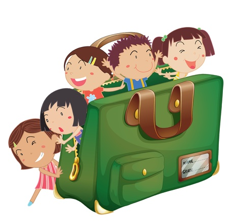 small group of objects: illustration of kids in a green bag