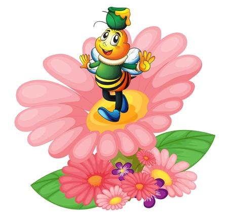 abeja caricatura: ilustración de una abeja de la miel y las flores en blanco Vectores