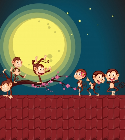 illustration of monkeys playing on a roof Vector