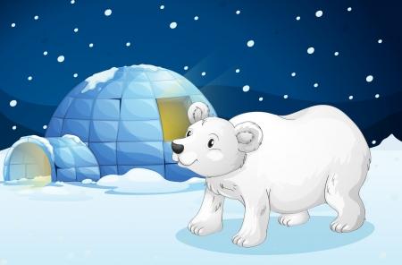 illustratie van een witte beer en iglo in donkere nacht
