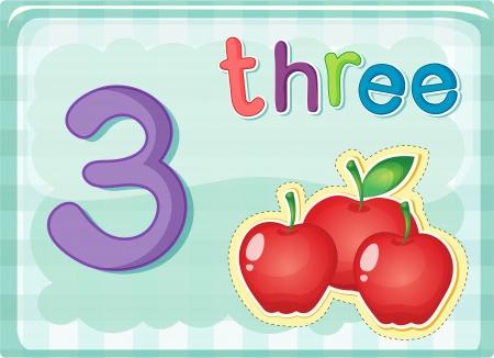 nombres: Illustr� de carte flash montrant le num�ro 3
