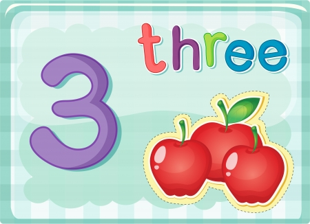 numbers counting: Illustrated flash card showing the number 3