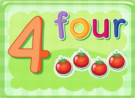 Illustrated flash card showing the number 4 Vector