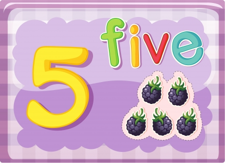 Illustrated flash card showing the number 5 Vector