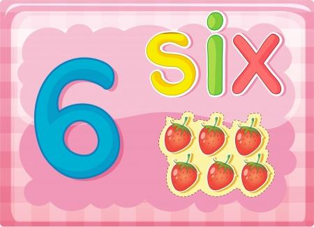 nombres: Illustr� de carte flash montrant le num�ro 6