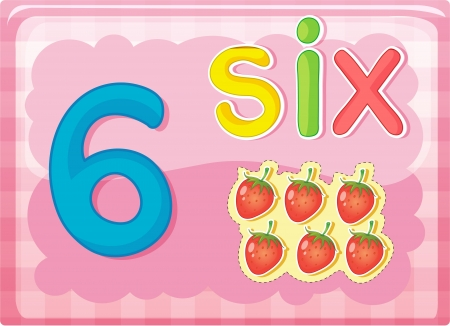 numerals: Illustrated flash card showing the number 6