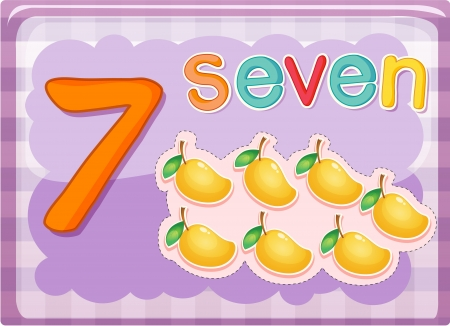 Illustrated flash card showing the number 7 Vector