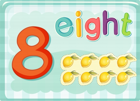 Illustrated flash card showing the number 8 Vector
