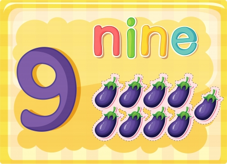 number nine: Illustrated flash card showing the number 9