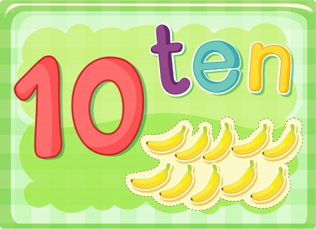 10: Illustrated flash card showing the number 10 Illustration