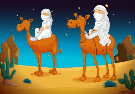 camels: illustration of a two arabs on camel