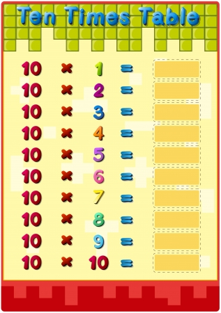 Worksheet of the 10 times tables Vector